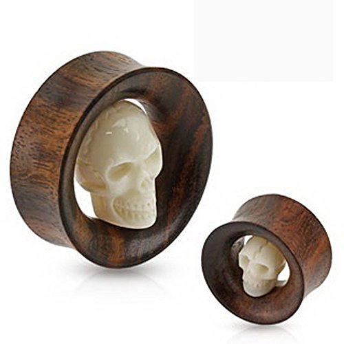 Carved Skull In Wooden Double Flared Tunnel Plugs (25mm , 1 inch) 2pc (1 Inch Plugs For Ears compare prices)