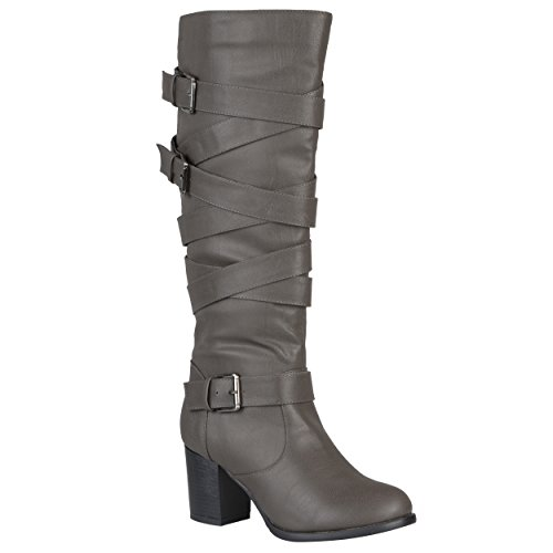 Journee Collection Womens Regular Sized And Wide-Calf Buckles Straps Knee-High Dress Riding Boot