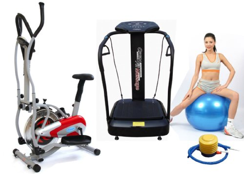 Package Deal: Gym Master 2 in 1 Elliptical Exercise Bike & Cross Trainer in Red - 1 Year Warranty + Crazy Fit Vibration Plate in Black Upgraded 3000 Peak Power Silent Drive Motor 2015 Edition Now with Full 2 Year Uk Warranty - The Most Powerful New Model-