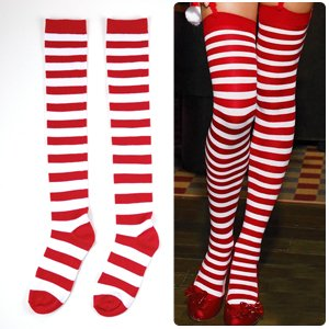 SEXY FANCY DRESS PARTY stretch knitted Thigh-High HIGH Hold up Holdups STOCKINGS RED AND WHITE horizontal STRIPES TIGHTS Stripy HOSIERY Wally Style Socks