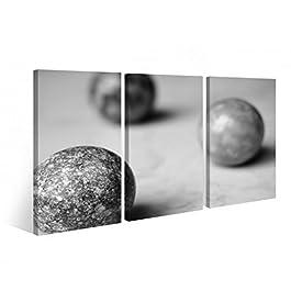 Leinwand 3 tlg. Murmeln Steine Stein Modern grau Druck Bilder Wandbild 9B298, 3 tlg BxH:120x80cm (3Stk 40x 80cm)