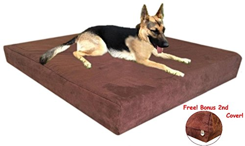 55''X37''X4'' Solid High Density Orthopedic Memory Foam Waterproof Pad Pet Dog Bed Crate With External Washable Chocolate Brown Microfiber Suede Anti Slip Cover Free 2Nd External Cover front-662228