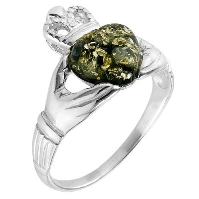 Green Amber and Sterling Silver Claddagh Ring,