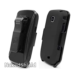 Samsung i110 Galaxy Proclaim Black Cover Case + KickStand Belt Clip Holster + Naked Shield Screen Protector