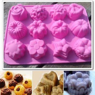 niceEshop(TM) 12 Cavity Flowers Silicone gel non-stick Cake bread Mold Chocolate jelly Candy Baking roasting mould +Free niceEshop Cable Tie