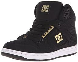 DC Women\'s Rebound High TX SE Skate Shoe, Black/White/Gold, 5 M US