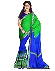 Texclusive Women's Designer Printed Work Saree With Blouse Piece