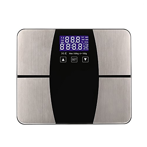 KINGTOP 薄型ヘルスメーター 体重計 体重体組成計 体重/体脂肪率/体水分量/筋肉量/推定骨量/基礎代謝量/BMI 測定可能 ステンレス