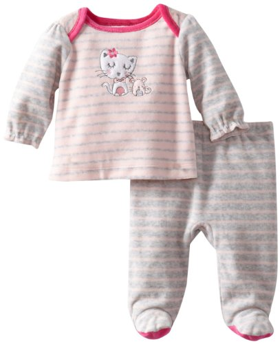 Absorba Baby-Girls Newborn V Pink Stripe Cat Footed Pant, Stripes, 3-6 Months front-1047181
