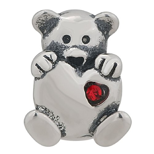 Red Cz Bear With Heart Love Beads 925 Sterling Silver Fit Pandora Charms