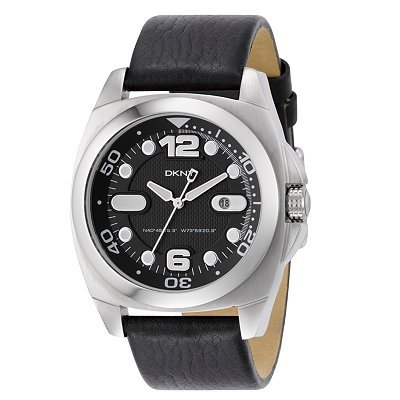 DKNY NY1433 Mens Black Dial and Leather Strap Watch