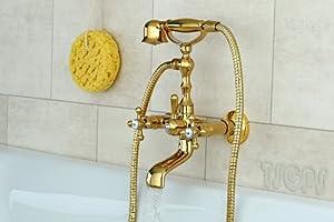 Nostalgie Retro Kreuzgriff Badewanne Armatur Serie Gloria Gold   Kundenbewertung und Beschreibung
