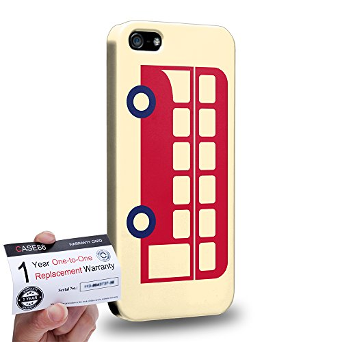 Case88 [Apple iPhone 5 / 5s] 3D stampato Custodia/Cover Rigide/Prottetiva & Certificato di garanzia - Art London Cityscape London Bus