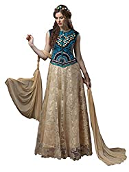 1 Stop Fashion Style yourself with this beautiful attire designed beautifully to give you eye catching look. Beige & Blue Semi stitched salwar suit is made with Net fabric and fashioned with Heavy embroidery work. white Santoon bottom and White & Red chiffon dupatta is matched with this salwar suit. Accessories shown in the image are for photography purpose. (Slight color variation is possible)