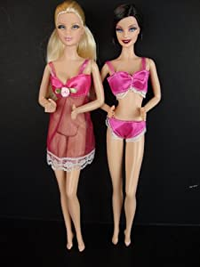 Underwear Bra and Panty Set in Hot Pink with Nightie Made to Fit the Barbie Doll