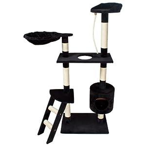 tectake arbre chat griffoir noir 153 cm. Black Bedroom Furniture Sets. Home Design Ideas