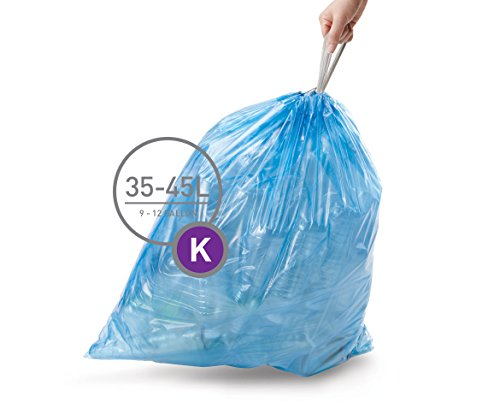 simplehuman Code K Custom Fit Recycling Liners, Tall Kitchen Drawstring Trash Bags, 35-45 Liter / 9-12 Gallon, 3 Refill Packs (60 Count), Blue (Recycle Can Liner compare prices)