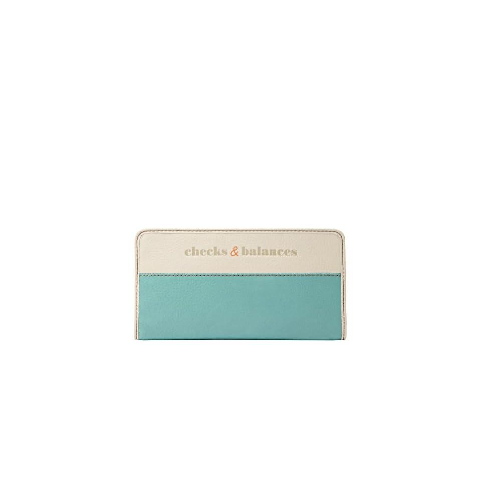 FOSSIL Hunter Zip Clutch Color Aqua Wallet
