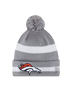 NFL Denver Broncos 2 Tone Striped Pom Knit, Grey by New Era