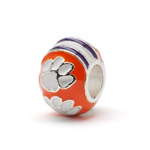 Clemson Tigers 3-D Bead Charm - Orange with White paws - Fits Pandora & Others
