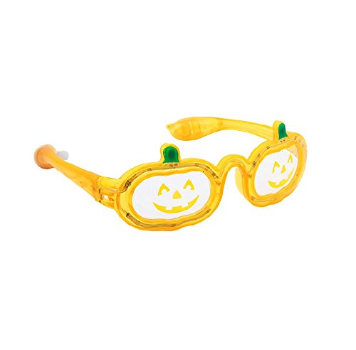 Nine States Plastic Led Light Pumpkin Glasses Orange