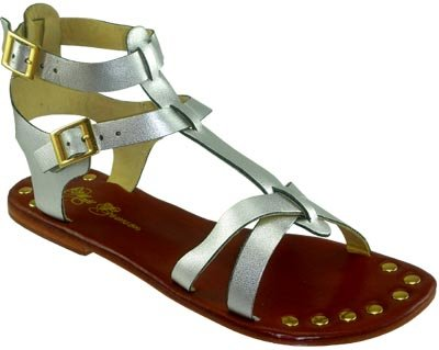 Matt Bernson Gladiator Women's Flat Sandals. (8, Silver)