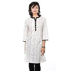Saamarth Impex U Neck White Color Printed 3/4 Sleeve Medium Reversible Style Kurtis SI-2092
