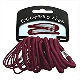 22 X Pieces - Burgundy Sleepy Clips/Elastics Set