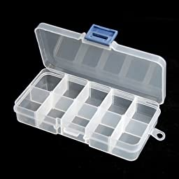 BeautyMood 4Pcs 10/15/24 Grid Clear Adjustable Jewelry Bead Organizer Box Storage Container Case (10 compartments)