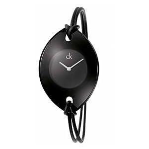 Calvin Klein Calvin Klein Suspension K3323330 - Reloj analógico de cuarzo para mujer, correa de cuero color negro