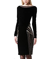 Celebritystyle women's black beaded long sleeevs bandage dress Ship from USA