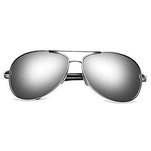 Zheino 5904 Full Mirror Sun Glasses Unisex Polarizzato Pilota AVIATOR anabbagliante Occhiali Guidare Occhiali guida sportiva Eyewear Silver