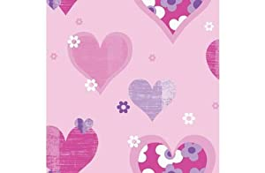 Happy Hearts Wallpaper - Pink from manufacturer