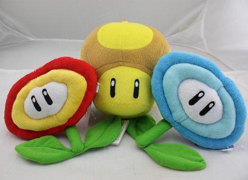 Super Mario Bros Gloden Mushroom & Fire Flower & Ice Flower Plush Doll Soft Toy Nintendo