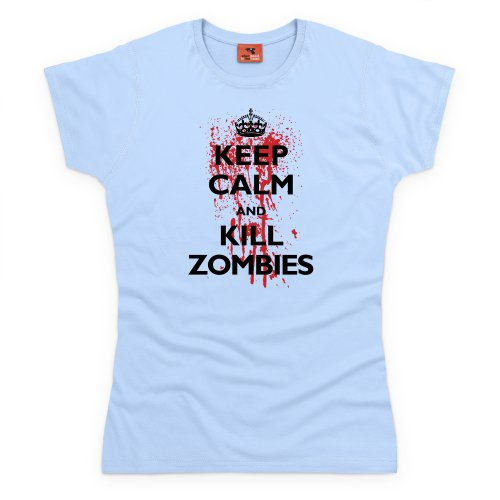 Keep Calm And Kill Zombies T-shirt, Donna, Celeste, 2XL