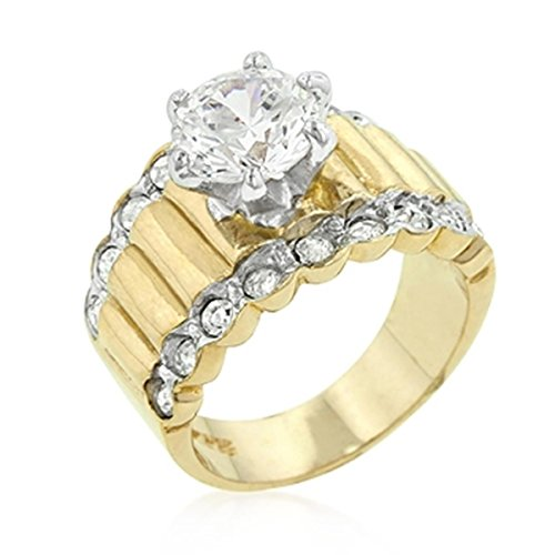 8 Mm Center Stone Cubic Zirconia Gold Colored Engagement Ring, Size 9