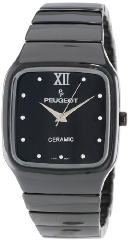 Peugeot Women's PS4899BK Square Black Genuine Ceramic Watch