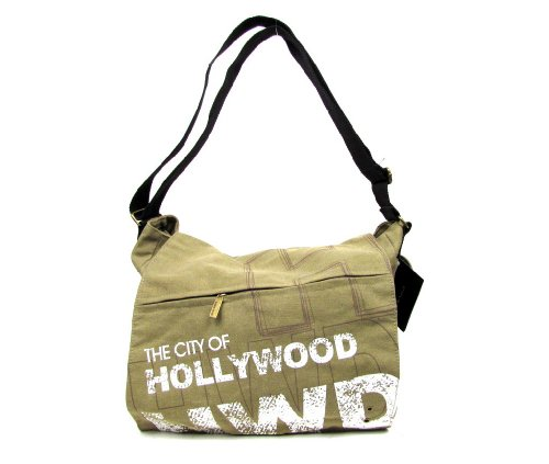 Robin Ruth Hollywood California Sling Messenger Tote Bag Book Laptop Computer School Unisex Beige Canvas Travel Souvenir