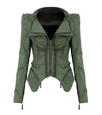 9Fox Women's Punk Studded Jacket Peak Power Shoulder Denim Jean Tuxedo Coat Blazer Jacket (S, Green)