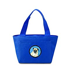 Carolines Treasures LH9387BU Pug Lunch or Doggie Bag, Large, Blue