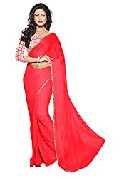 Mahadev Enterpris Women's Nazmin Orange Weaving Border Plain Saree With Net Embroiered Work Unstitched Blouse Piece (Red, Freesize , MAK_08)