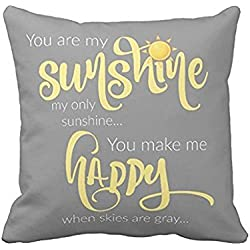Sengreat 18 x 18 Inch You Are My Sunshine Yellow On Gray with Chevron Soft Cotton Polyester Throw Pillow Cases Home Decor Coshion cover Decoretive pillow cover