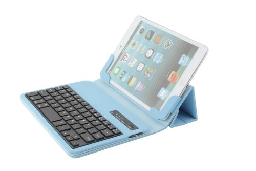Newstyle Universal Folding Protective Pu Leather Case Cover With Wireless Magnetic Removable Detachable Bluetooth 3.0 Abs Keyboard For Ipad Mini / Samsung Galaxy 7-Inch Ios & Android Tablet - Blue Color