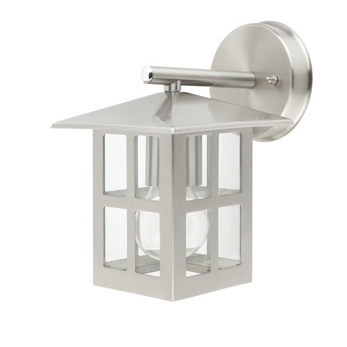 Globe Electric 40848 9 Inch Outdoor Wall Lantern Light Fixture, Silver Finish With Clear Glass Shade