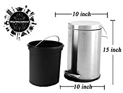 King International Stainless Steel Plain Pedal Dustbin with Plastic Bucket 11 litre. (10x15)