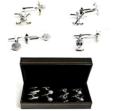Golf Ball Clubs Bag 4 Pairs Cufflinks with a Presentation Gift Box