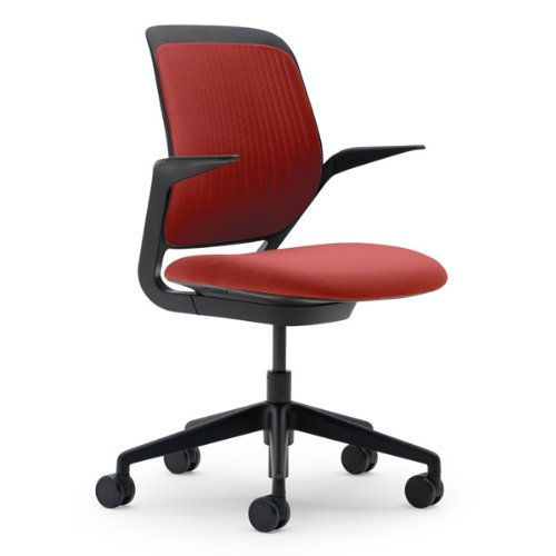 Cobi Chair by Steelcase - Black Frame and Base - Fixed Arms - Carpet Casters - Scarlet