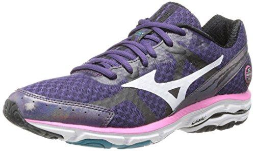 Mizuno Wave Rider 17 Running Shoe,Purple Plumeria/White/Shocking Pink,9 B US