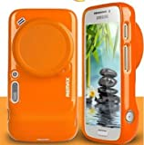 SundayZaZa Removable Lens Caps TPU Gel Silicone Case Cover For Samsung Galaxy S4 Zoom C1010 - Orange