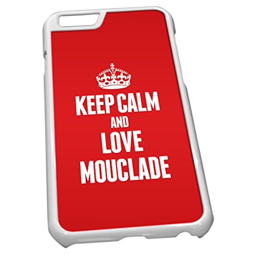 Blanc Coque pour iPhone 6 1296 Rouge Keep Calm and Love mouclade